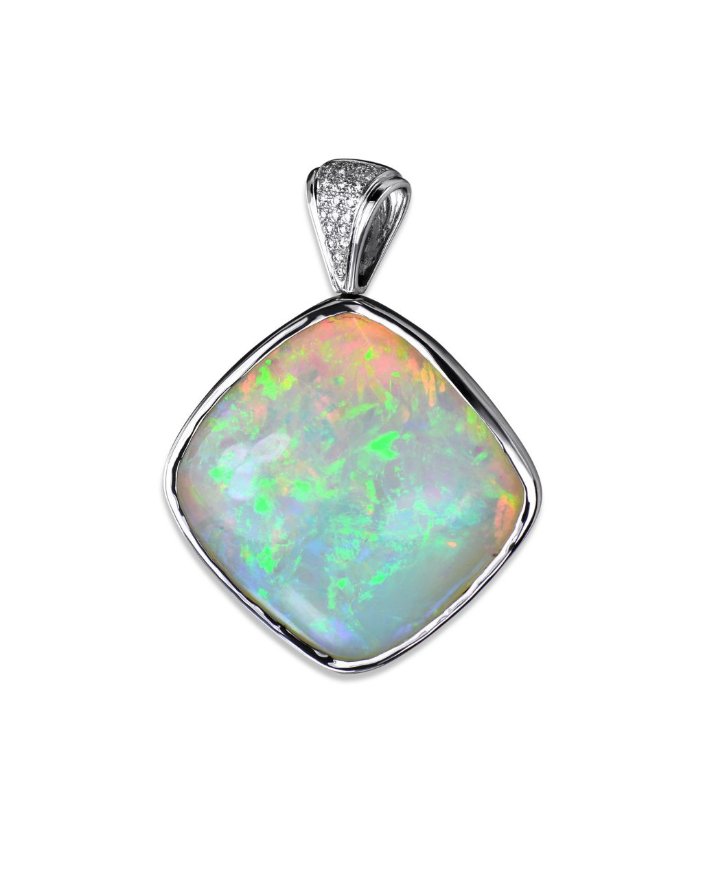 Ethiopian Opal and Diamond Pendant