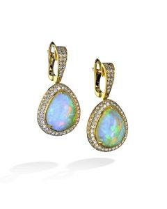 Ethiopian Pear-Shaped Opal and Diamond Earrings