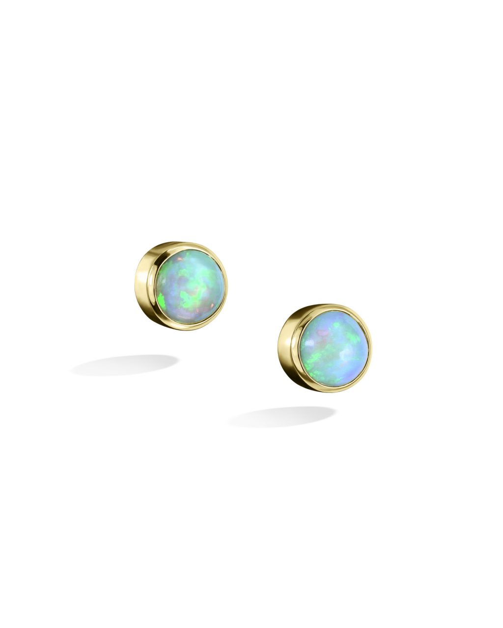 Yellow Gold Ethiopian Opal Stud Earrings