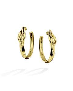 Yellow Gold Concrete Jungle Hoops by Michael Bondanza snake motif
