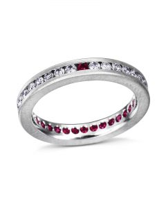 Diamond and Ruby Eternity Band by Satoru