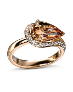 Rose Gold Pear-Shaped Topaz and Diamond Ring