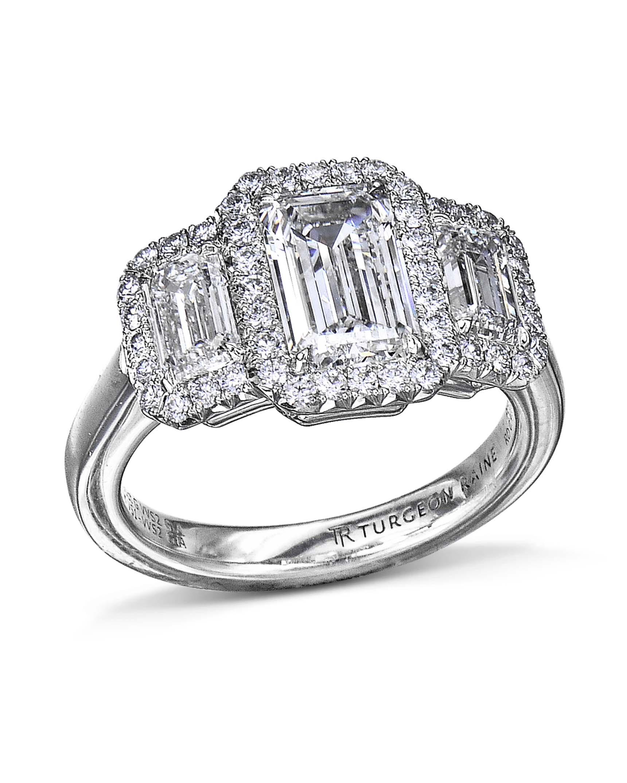 3 Stone Emerald Cut Diamond Halo Ring Turgeon Raine