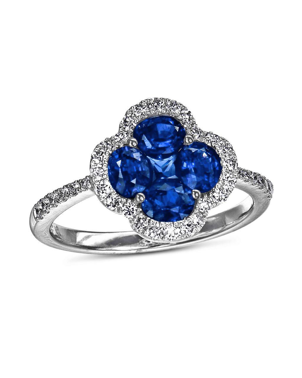 Blue Sapphire and Diamond Halo Ring