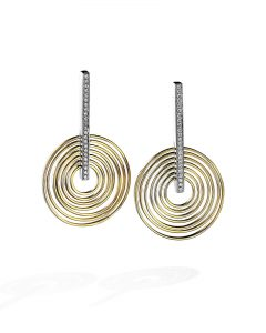Two-Tone Gold and Diamond Drop Earrings by Sakamoto