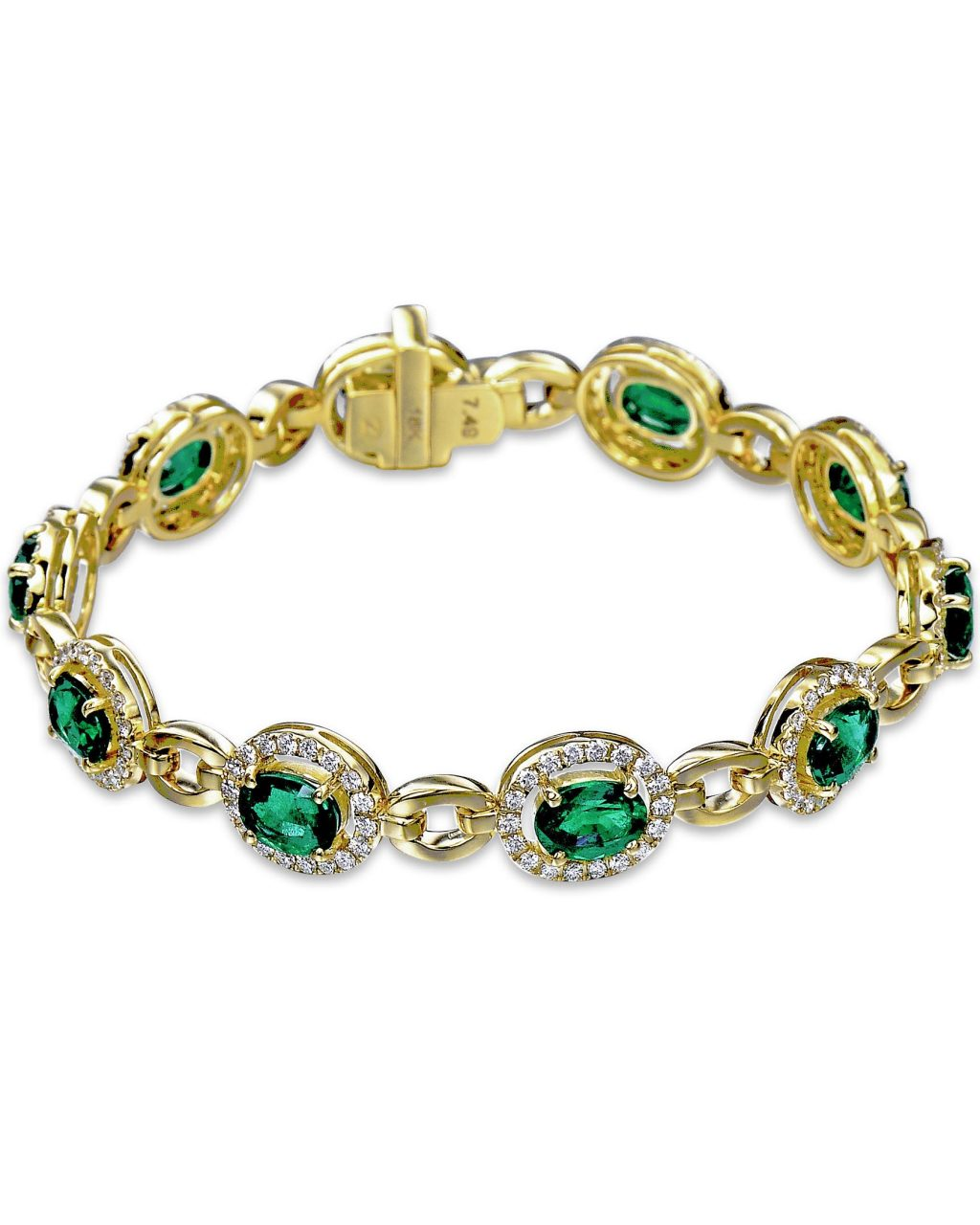 Zambian Emerald and Diamond Yellow Gold Bracelet
